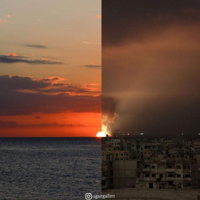 تصاویر بسیار تاثیرگذار ترکیبی از صلح و جنگ